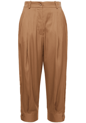 Emilio Pucci Cropped Pleated Crepe De Chine Tapered Pants Woman Camel Size 40