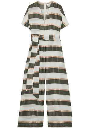 Lisa Marie Fernandez Rosetta Belted Striped Gauze And Satin Wide-leg Jumpsuit Woman Off-white Size 4