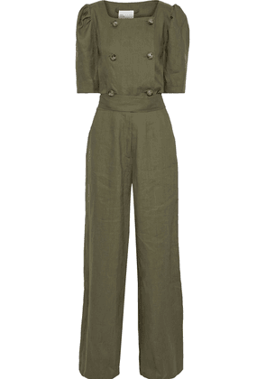 Lisa Marie Fernandez Diana Double-breasted Bow-detailed Linen Jumpsuit Woman Army green Size 3