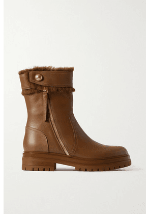 Gianvito Rossi - Montreal Shearling-trimmed Leather Ankle Boots - Tan