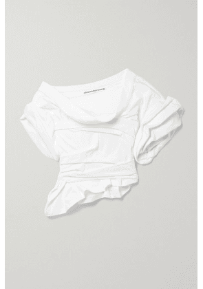 Alexander Wang - One-shoulder Gathered Cotton-jersey Top - White