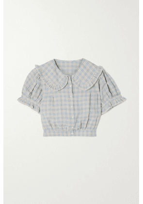 DÔEN - Sparrow Cropped Ruffled Checked Ramie Blouse - Blue