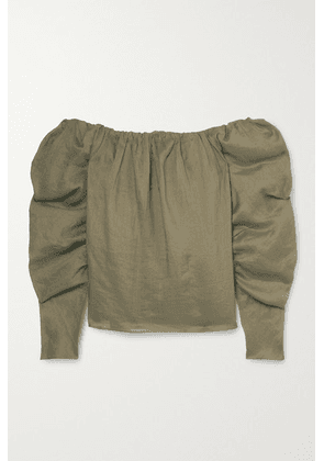 FRAME - Off-the-shoulder Ramie Blouse - Army green