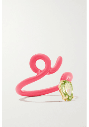 Bea Bongiasca - Baby Vine Tendril Enamel, Gold And Peridot Ring - Pink