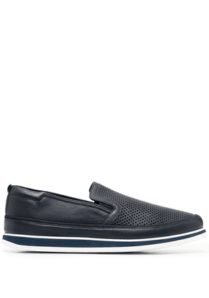 Baldinini perforated-detail leather loafers - Blue