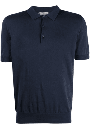 Canali knitted polo shirt - Blue