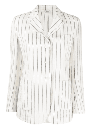 Aspesi stripe linen single-breasted blazer - White