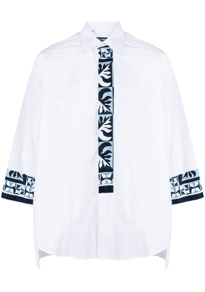 Dolce & Gabbana leaf pattern trim shirt - White