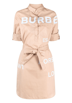 Burberry logo print belted dress - Neutrals