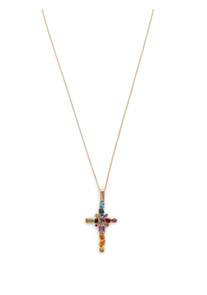 Dolce & Gabbana 18kt yellow gold gemstone cross pendant necklace