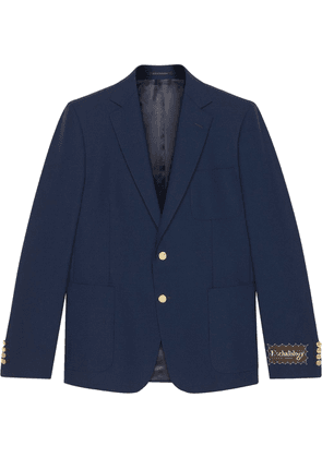 Gucci logo-patch single-breasted blazer - Blue