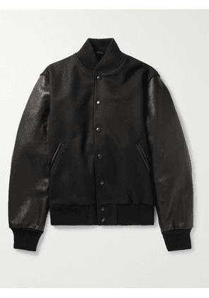 GOLDEN BEAR - The Albany Wool-Blend and Leather Bomber Jacket - Men - Black - L
