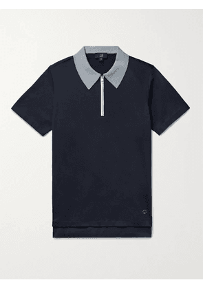 DUNHILL - Contrast-Tipped Cotton-Jersey Polo Shirt - Men - Blue - S