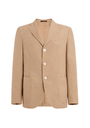 The GiGi Single-Breasted Flax-Blend Blazer - Brown - Moda Operandi
