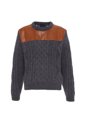 Prada Leather Panel Wool Sweater - Grey - Moda Operandi