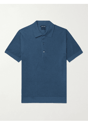 TOM FORD - Textured Cotton-Blend Polo Shirt - Men - Blue - IT 44