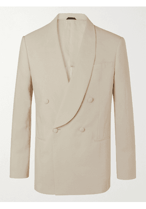 GIORGIO ARMANI - Double-Breasted Silk-Blend Suit Jacket - Men - Neutrals - IT 48