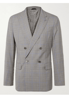 GIORGIO ARMANI - Slim-Fit Double-Breasted Prince Of Wales Checked Wool Suit Jacket - Men - Gray - IT 46
