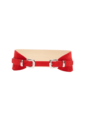 Brandon Maxwell - Women's Tapered Suede Waist Belt - Yellow/pink - Moda Operandi