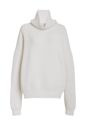 Brandon Maxwell - Women's Oversized Wool-Blend Turtleneck Sweater - White/black - Moda Operandi