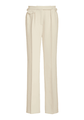 Brandon Maxwell - Women's Low-Rise Straight-Leg Wool Silk Pants - Black/white - Moda Operandi
