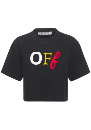 Printed Off Logo Jersey Cropped T-shirt