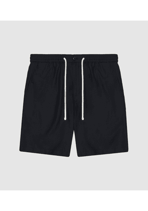 Reiss Ardielles - Linen Blend Drawcord Shorts in Navy, Mens, Size 28