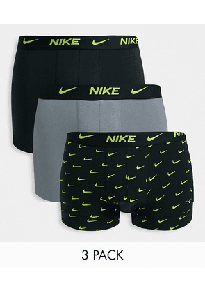 Nike Everyday Cotton Stretch 3 pack trunks in black/grey/black