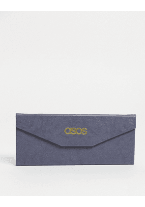 ASOS DESIGN foldable sunglasses case in grey faux leather-Black