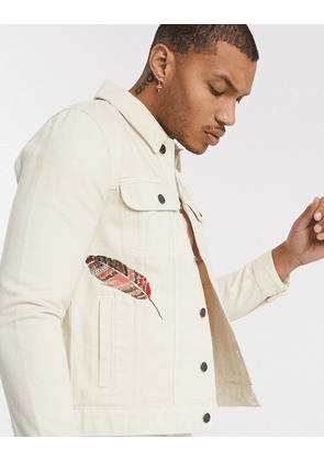 ASOS DESIGN denim jacket in sand with embroidery-Neutral
