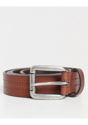 ASOS DESIGN leather slim belt in tan with stitch detail and silver roller buckle-Brown
