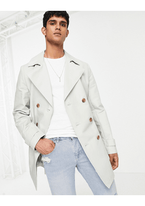 ASOS DESIGN shower resistant double breasted trench coat in grey