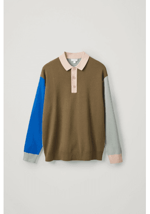 KNITTED LONG-SLEEVE POLO SHIRT