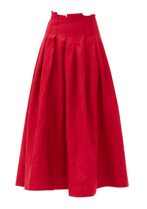 Aje - Apres Raw-edged Pleated Linen Skirt - Womens - Red
