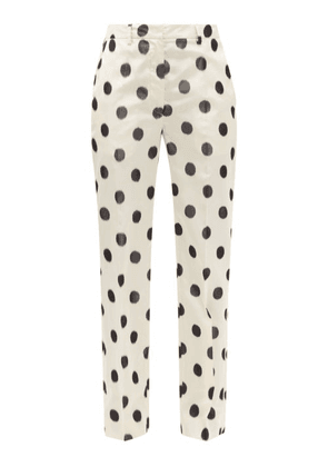 Prada - Polka-dot Taffeta Straight-leg Trousers - Womens - Cream Print