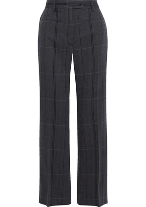 Acne Studios Patsyne Checked Herringbone Wool And Cotton-blend Straight-leg Pants Woman Dark gray Size 34
