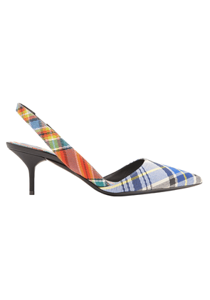 Burberry Leather-trimmed Checked Twill Slingback Pumps Woman Multicolor Size 39