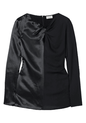 By Malene Birger Ficus Twist-front Paneled Satin And Crepe Blouse Woman Black Size 32