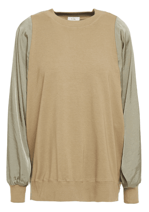 Clu Twill-paneled Stretch Cotton And Modal-blend French Terry Top Woman Army green Size XS