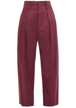 Isabel Marant Étoile Odrys Pleated Cotton Tapered Pants Woman Burgundy Size 34