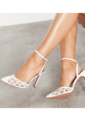 ASOS DESIGN Wide Fit Pansy cut out high heeled shoes in white