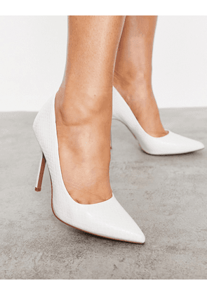 ASOS DESIGN Phoenix pointed high heeled court shoes in white