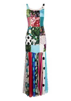 Dolce & Gabbana patchwork charmeuse and georgette dress - Blue