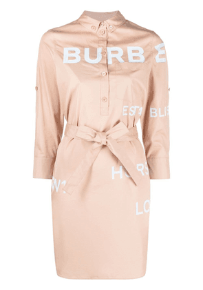 Burberry logo-print shirt dress - Neutrals