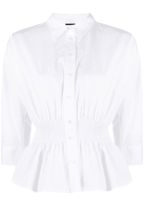 Aspesi smocked-waist long-sleeved blouse - White