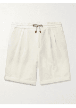 BRUNELLO CUCINELLI - Wide-Leg Pleated Linen Drawstring Shorts - Men - Neutrals - IT 50