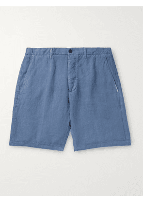 ALTEA - Embroidered Linen Shorts - Men - Blue - S