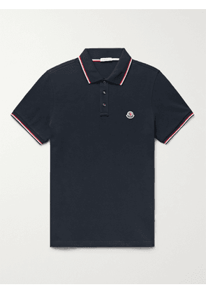 MONCLER - Slim-Fit Contrast-Tipped Logo-Appliquéd Cotton-Piqué Polo Shirt - Men - Blue - XL