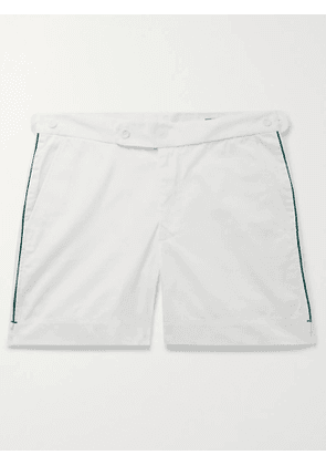 SID MASHBURN - Piped Cotton-Blend Twill Shorts - Men - White - UK/US 32