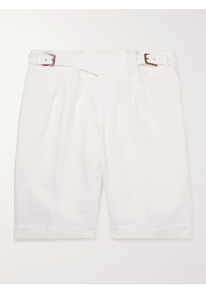 ANDERSON & SHEPPARD - Gurkha Pleated Linen Shorts - Men - Neutrals - UK/US 36